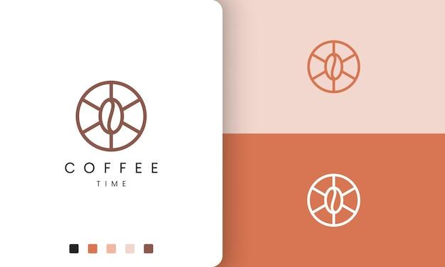 현대적이고 단순한 모양의 원형 커피 로고