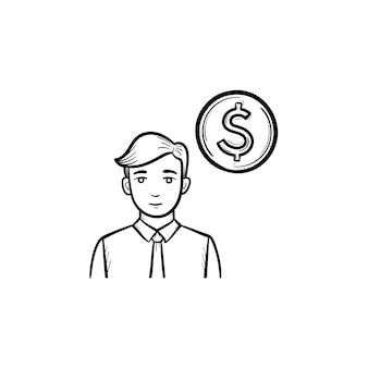 サークルコイン手描きアウトライン落書きベクトルアイコン。白い背景で隔離の印刷、ウェブ、モバイル、インフォグラフィックのビジネスサークルスケッチの概念。