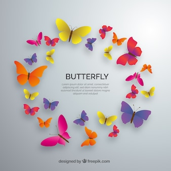 Circle of colored butterflies