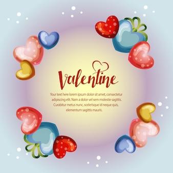 원 화려한 발렌타인 프레임 카드
