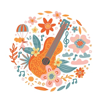 Circle composition of flowers entwined guitar