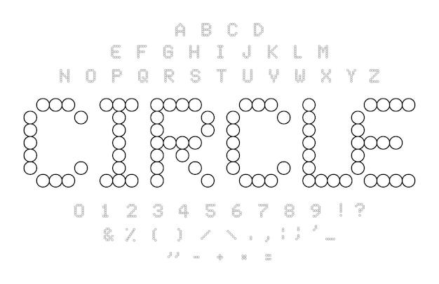 원 등고선 알파벳입니다. 흑백 간단한 점선 문자, 숫자 및 기호 집합입니다. 모자이크 타일 모양입니다. 원형 퍼즐 글꼴 개념