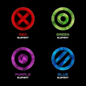 サークル、クロス、ドットのロゴデザイン要素。青と赤、紫と緑。ベクトルイラスト