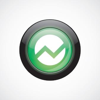 円図ガラスサインアイコン緑の光沢のあるボタン。 uiウェブサイトボタン