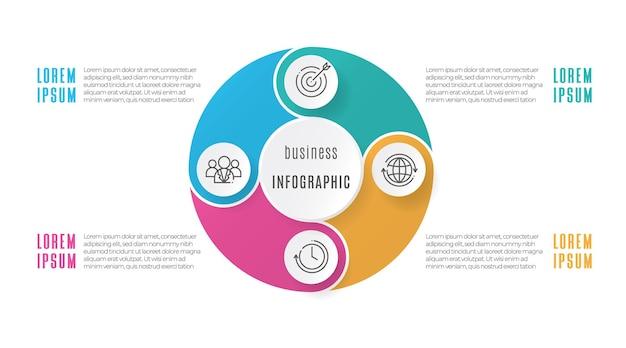 円図インフォグラフィックテンプレート4オプション