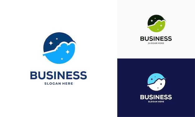 Circle dynamic cloud logo designs concept vector, technology logo symbol icon