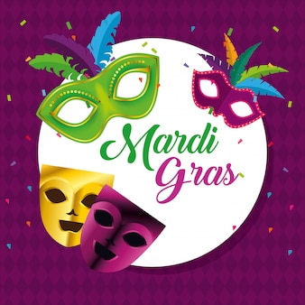 Circle emblem with masks for mardi gras celebration