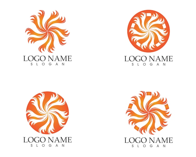 Circle fire icon logo design vector illustratiion