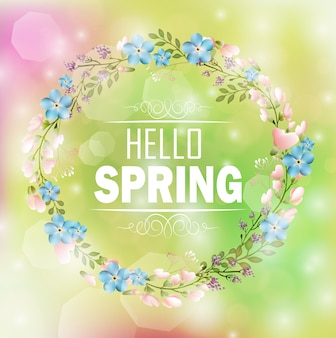 Circle floral frame spring theme with bokeh background