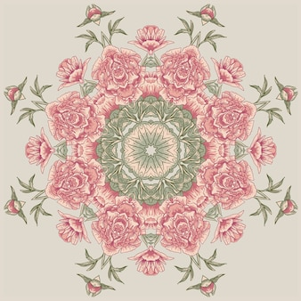 Circle floral pattern with peonies