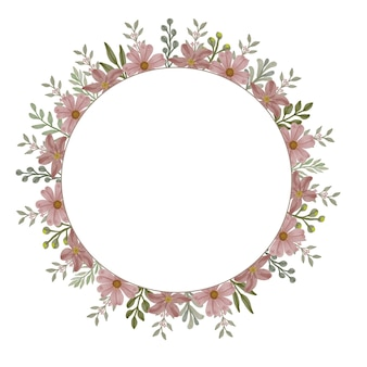 Circle floral watercolor frame