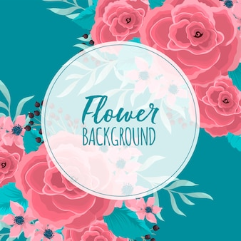 Circle flower border  pink flowers at mint green background