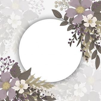 Circle flower frame  pink flowers