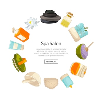 In circle form with place for text in center with cartoon beauty and spa elements illustration