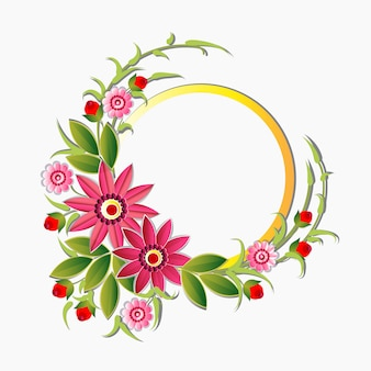 Circle frame decorated with flowers, floral decoration design