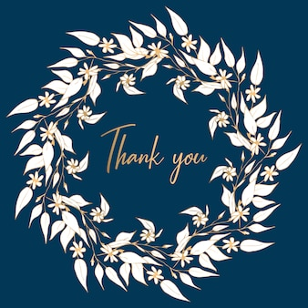 Circle frame from floral branch on navy background with text thank you
