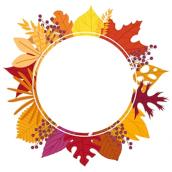 Circle frame made of leaves.