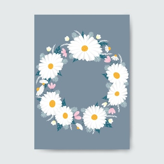 Circle frame made with flowers