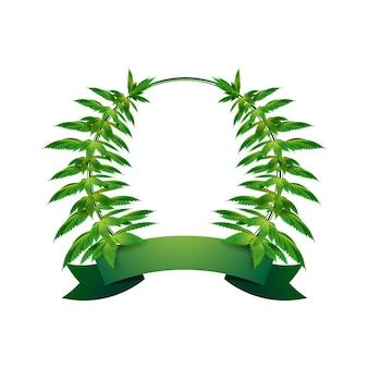 あなたのテキストのための緑のリボンで麻の円フレーム。