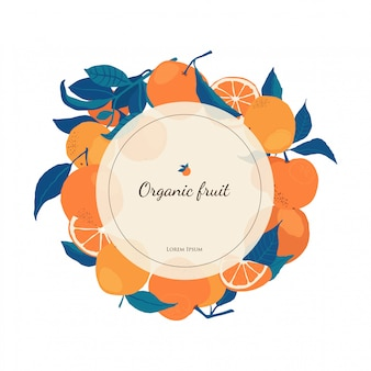 Circle frame of oranges on branches with copy space in flat style.