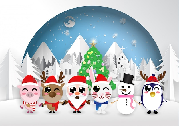 Circle frame santa claus hold one's hands animal of christmas,merry christmas,happy new year.