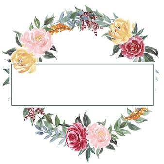 Circle frame watercolor flower arrangements background