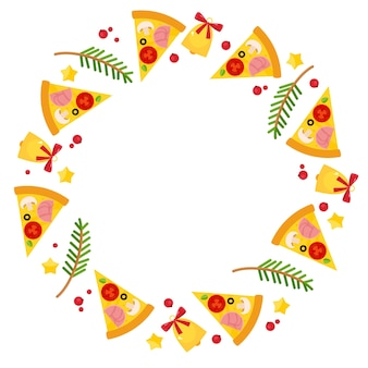 Рамка круга с рождественской пиццей, еловыми ветками и колокольчиками.