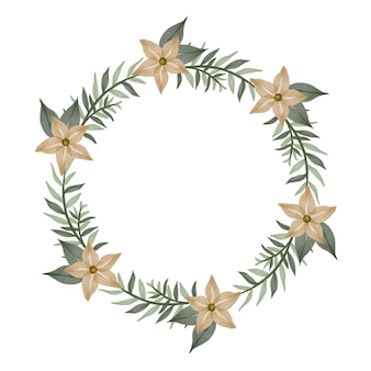 크림 꽃과 녹색 잎 테두리가 있는 원형 프레임