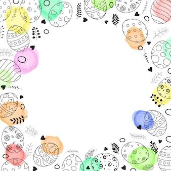 イースターエッグの手で描かれた円のフレーム