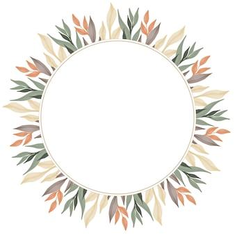 웨딩 카드에 대한 풀 컬러 잎 테두리가있는 원형 프레임