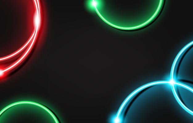 Круглая рамка с пылающим и светом. электрический яркий дизайн баннера 3d прямоугольник на темном фоне. неоновый абстрактный фон с бликами и блестками.