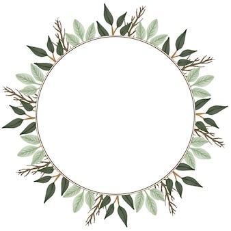 인사말 및 웨딩 카드에 대 한 녹색 휴가 및 분기 테두리가 있는 원형 프레임