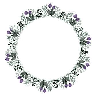 Circle frame with green leaves and bud border for greeting and wedding card