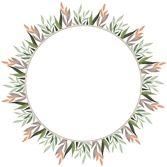 Circle frame with green and orange leaf border for wedding card