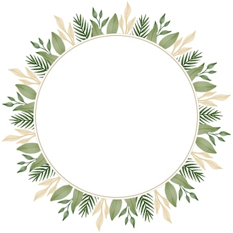 Circle frame with green and soft brown leaf border for wedding card