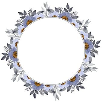 회색과 흰색 꽃 테두리가 있는 원형 프레임