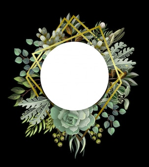 Circle frame with leaves, succulent and golden elements