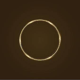 Circle frame with  light effect. golden comet with glowing tail of shining stardust sparkles