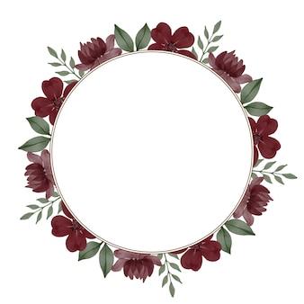 인사말 및 웨딩 카드를 위한 적갈색 꽃 테두리가 있는 원형 프레임
