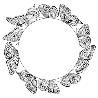 Circle frame with ornate doodle hand drawn butterflies.