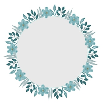Circle frame with pale green flower and leaf border for greeting and wedding card