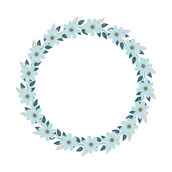 Circle frame with pale green flower and leaf for greeting and wedding card