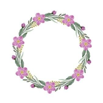 ピンクの花と緑の葉のボーダー紫の花輪とサークルフレーム