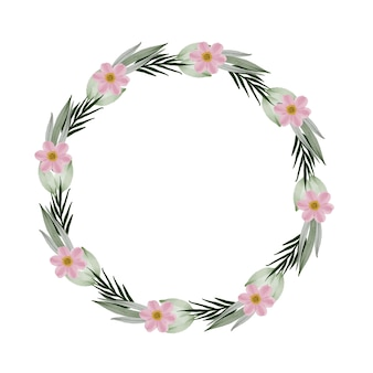 Circle frame with pink flower and pale green leaf border pink wreath