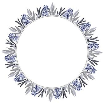 인사말 및 웨딩 카드를 위한 보라색 꽃 봉오리와 회색 잎이 있는 원형 프레임