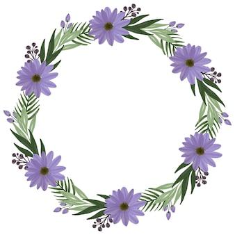 挨拶や結婚式の招待状のための紫色のデイジーと緑の葉の境界線を持つサークルフレーム