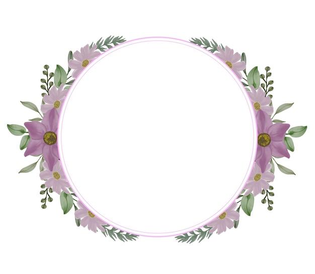 ウェディングカードの紫色の水彩花束とサークルフレーム