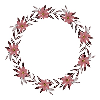 Circle frame with red flower blossom and grey leaf border for wedding card