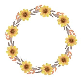 Circle frame with sunflower and brown leaf border