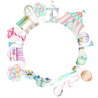 Circle frame with watercolor elements of amusement park